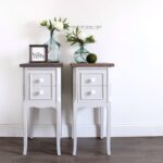 free shipping light gray farmhouse end tables ray sunlight rustic nightstands with white milk glass knobs and dark wood tops bedroom drop leaf dining table grey round twin 150x150