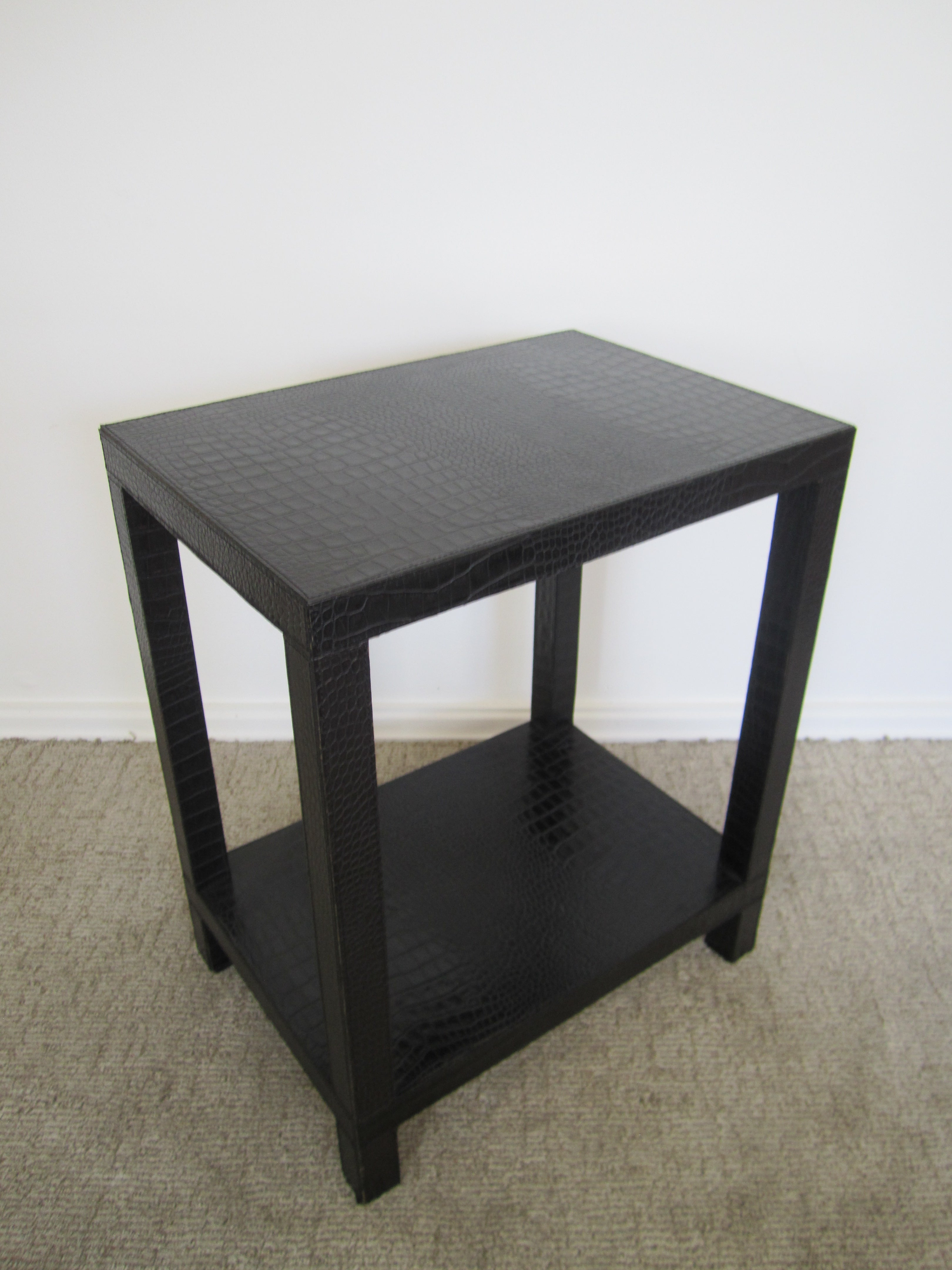 french black leather end table img tables lifetime depot broyhill outdoor piece set furniture thomasville bedside for bedroom marble and glass ethan allen toronto riverside