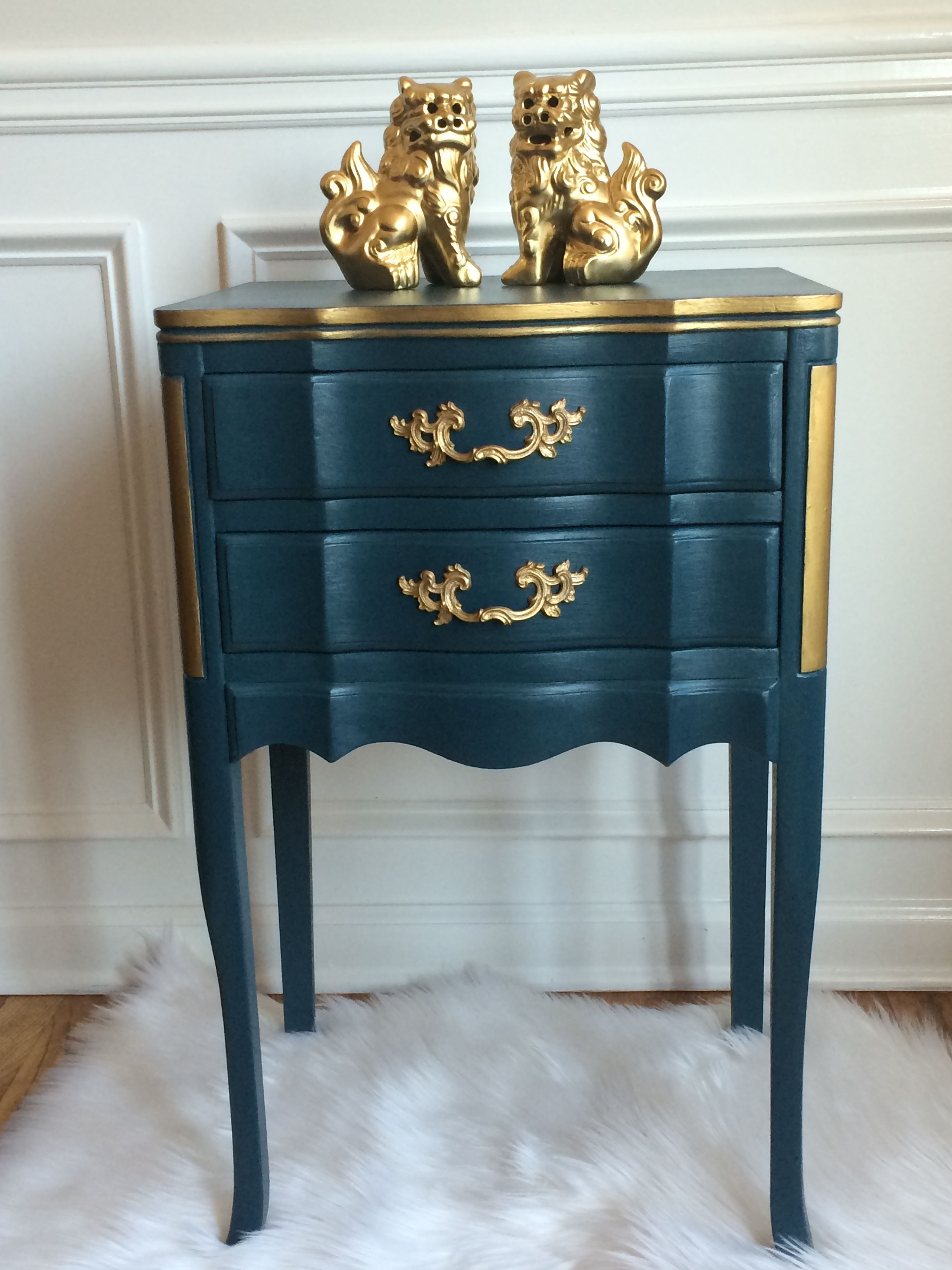 french provincial end table diy chalk type paint bohemian blue painted tables chinese trunk coffee narrow parsons console leons bunk beds replacement glass for patio bar iron