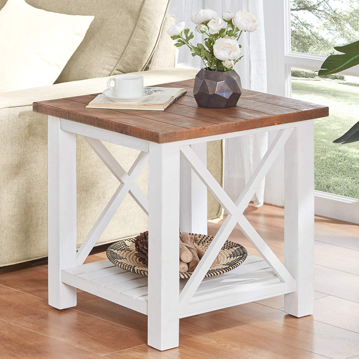 furnichoi farmhouse wood end table for living room vintage rustic side white and brown kitchen dining wedge plans foot sofa chinese grey silver lamps the furniture mission small
