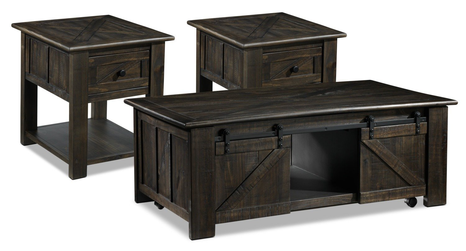 gable coffee table and two end tables weathered charcoal leon country recently viewed items youth furniture ashley full site glass top black base dining very small cube side