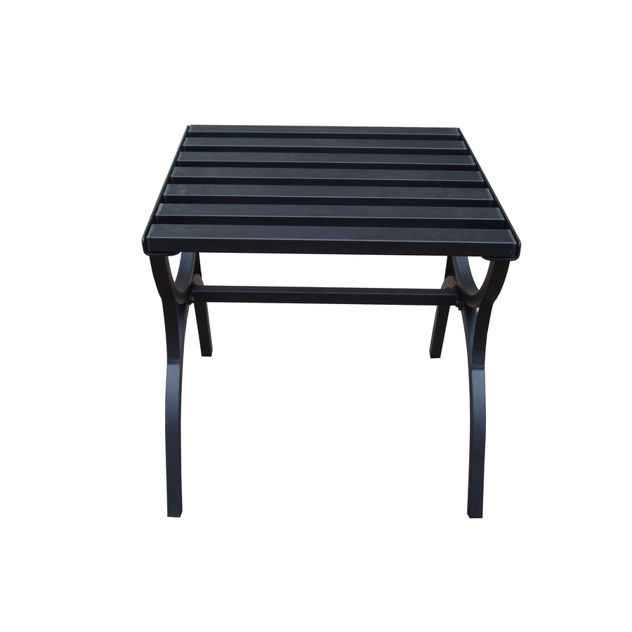 garden treasures black steel square patio end table outdoor side height rules antique bedside cabinets inch sofa magnussen furniture quality reviews best diy dog house natural oak