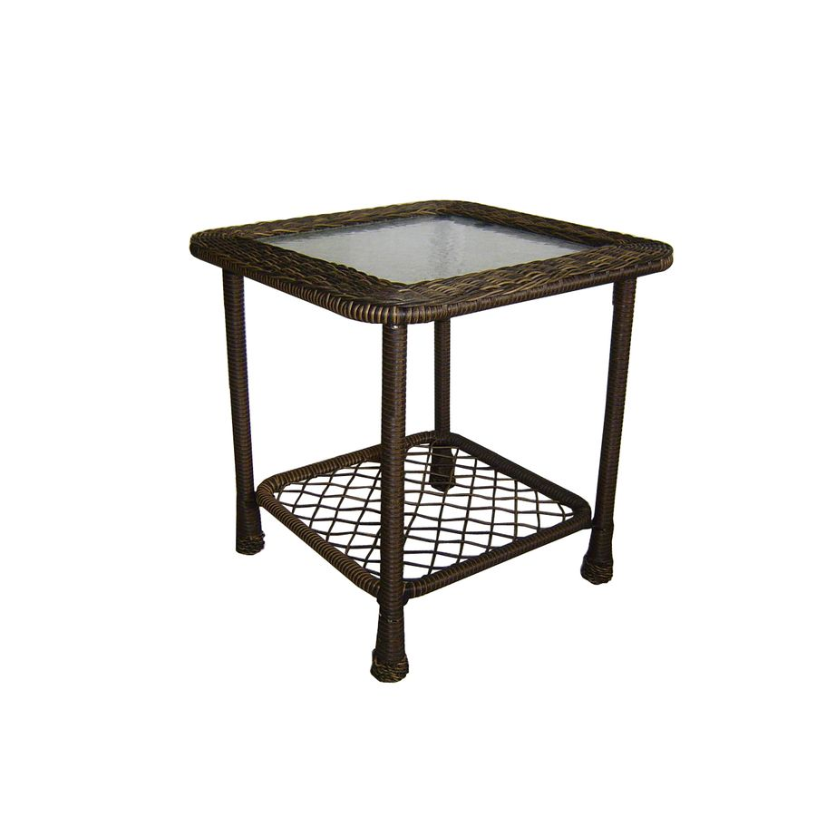 garden treasures severson square brown wicker end table with glass tabletop link wood set round nesting coffee tables stanley vintage furniture inch patio antique wooden bedside