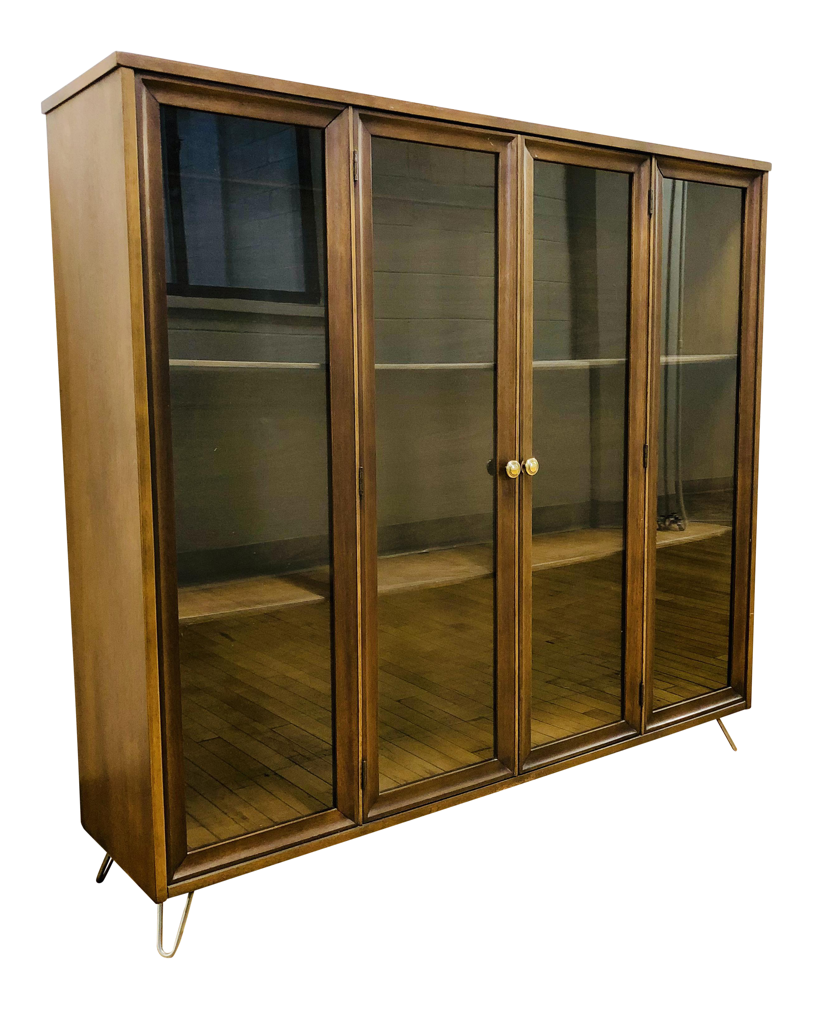 gently used broyhill furniture off chairish mid century modern brasilia display case shelving unit custome hairpin legs discontinued end tables industries boston chair round iron