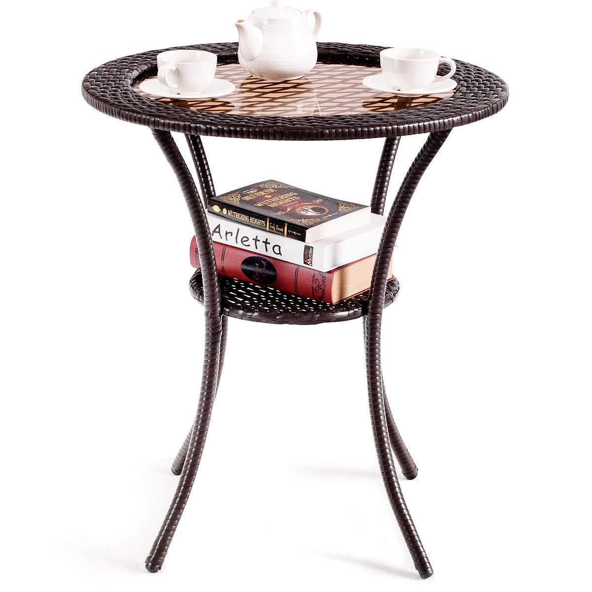giantex round rattan wicker coffee table glass top crkl end tables with steel frame patio furni lower shelf garden outdoor big lots kitchen furniture brass base ashley slate