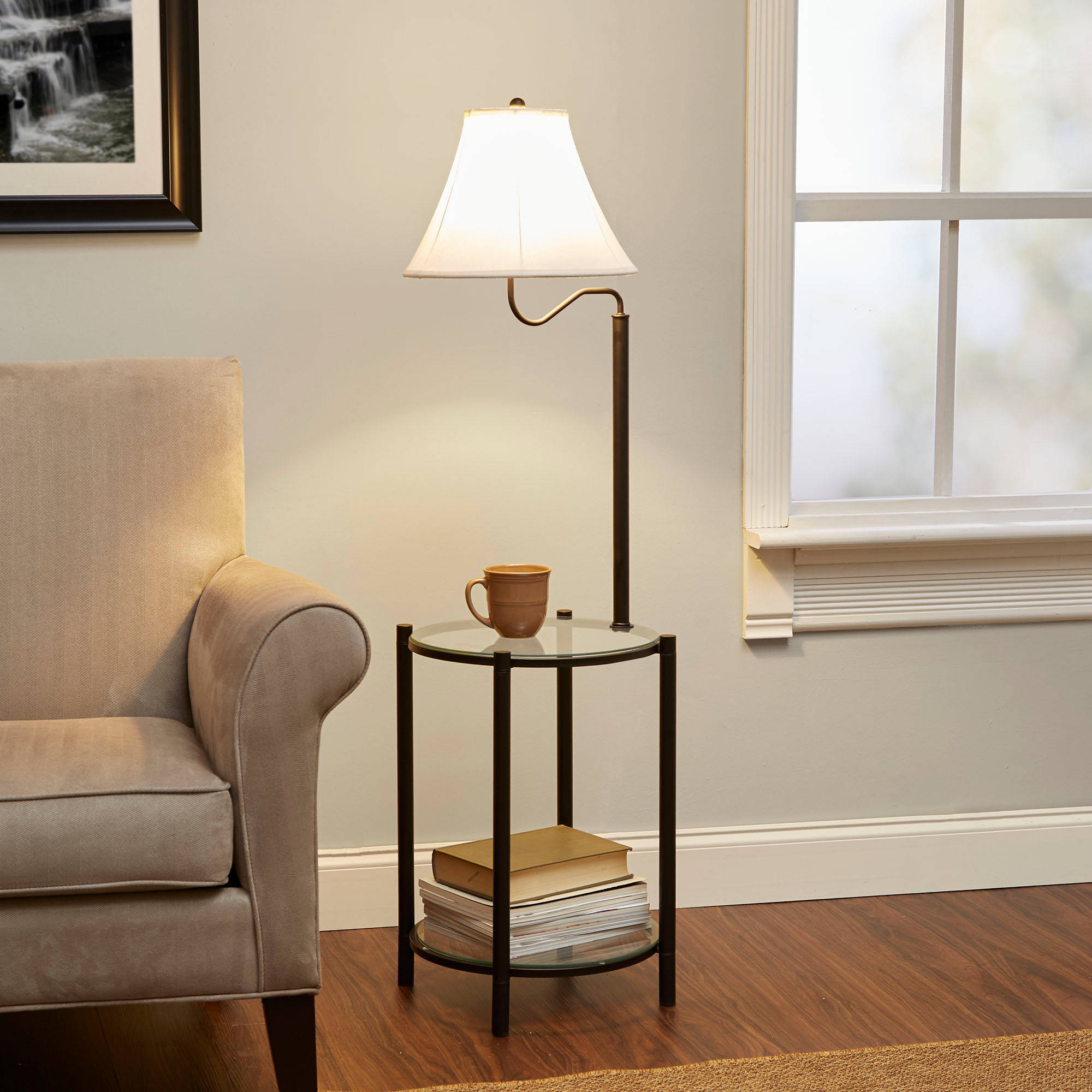 glass end table lamp combo matte black bedroom sofa couch side details about bottom shelf west elm console wooden for drawing room lift top coffee chest laura ashley bath set dark
