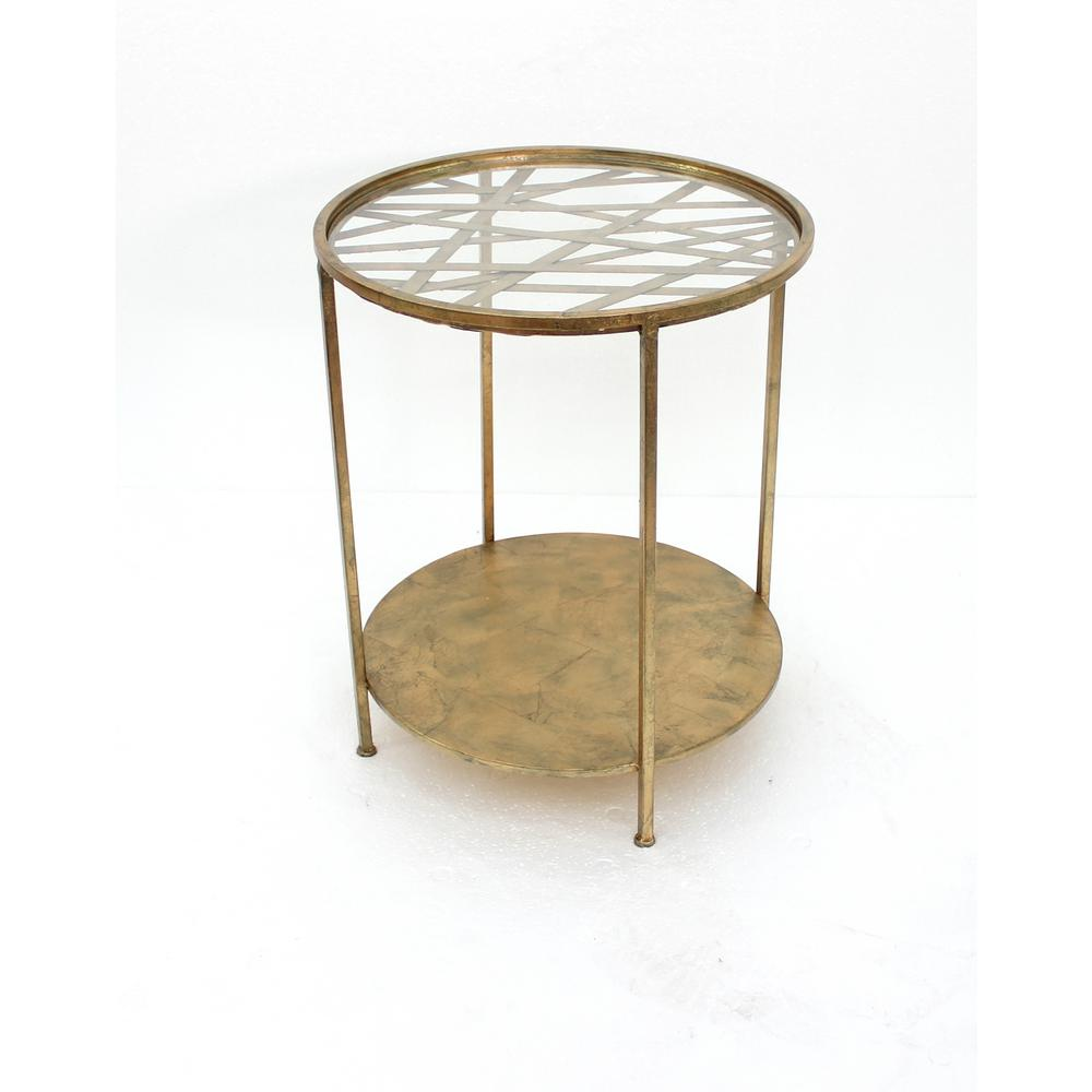 gold metal end table with glass top the tables traditional sofa set black coffee drawer nightstand asian inspired round marble shaker style magnolia home furniture retailers