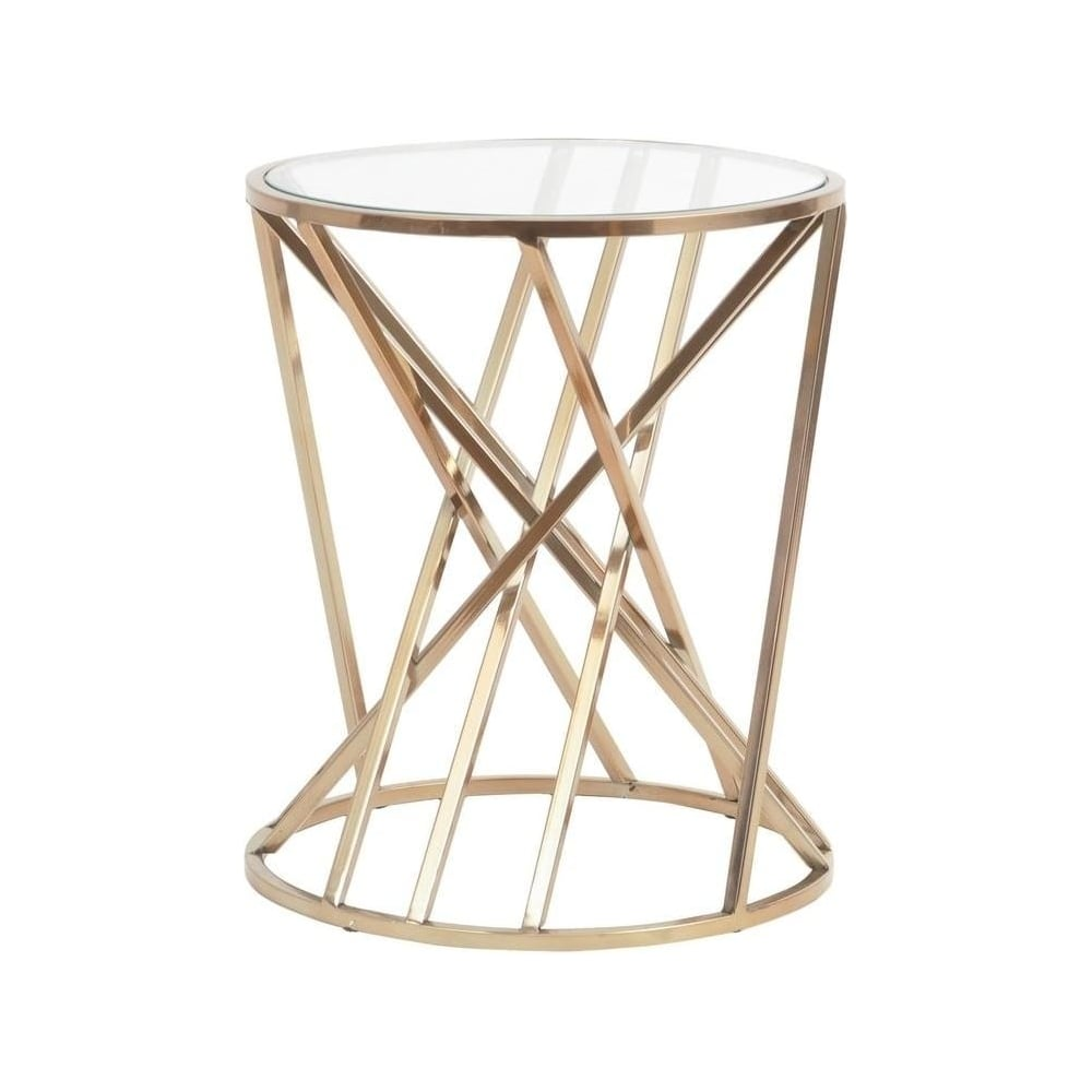 gold twist side table with glass top from fusion living libra furniture end tables ashley hours sunday traditional sofa set asian inspired thomasville whole piece faux marble