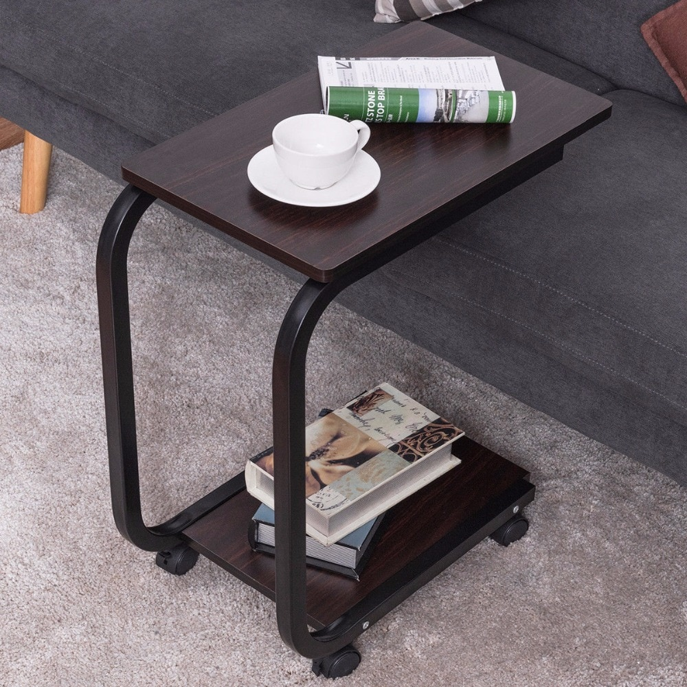 goplus tier shaped sofa side end coffee table tray snack home office furniture with caster rolling portable tables aberdeen macy tampa small gold does ashley delivery for free