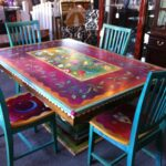 gorgeous hand painted table and chairs now can decide how riva end black our hmmm console inch depth mid century modern dining log porch furniture homesense ontario rustic coffee 150x150