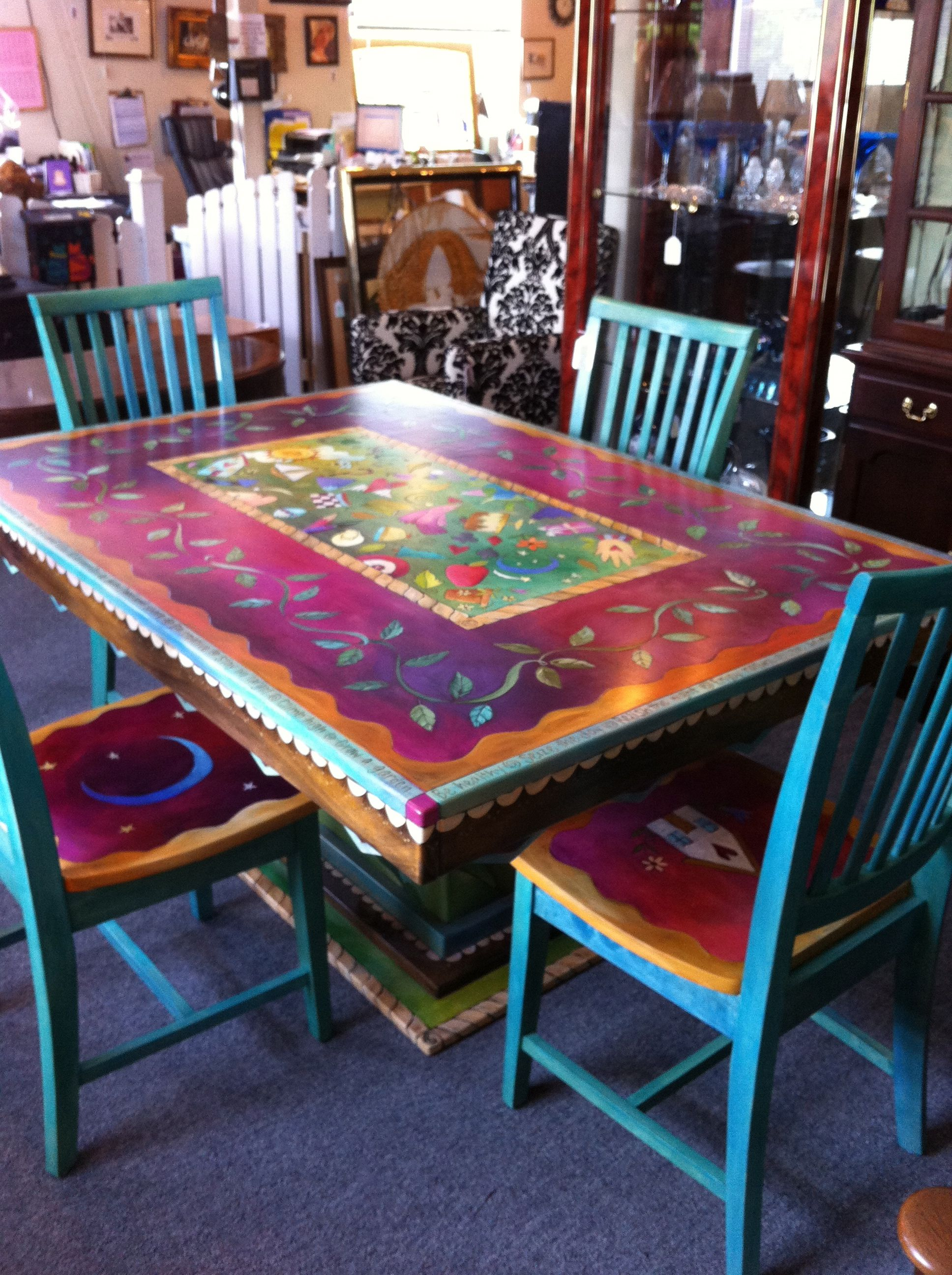 gorgeous hand painted table and chairs now can decide how riva end black our hmmm console inch depth mid century modern dining log porch furniture homesense ontario rustic coffee