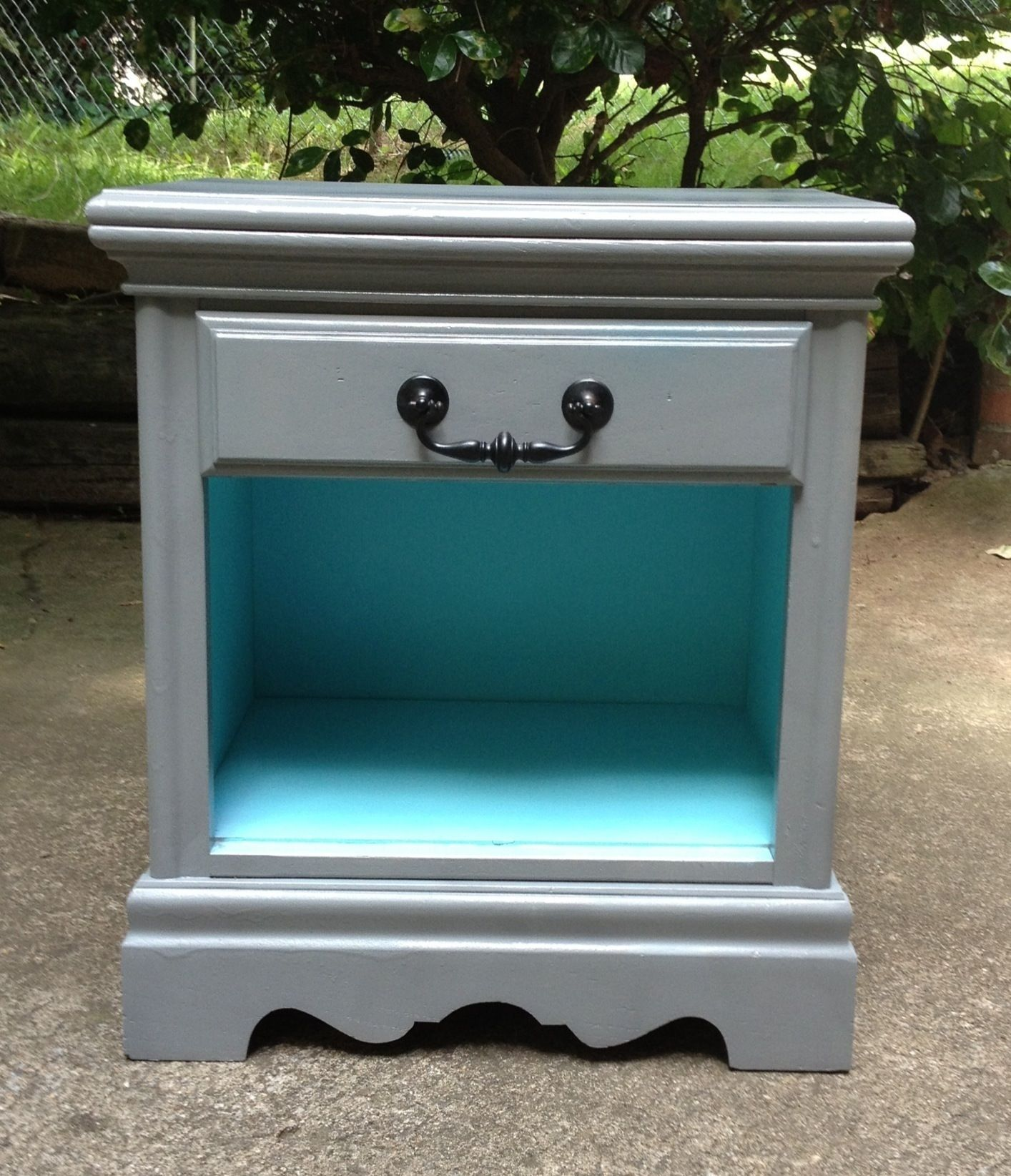 gray nightstand den bedroom decor diy end tables and turquoise table redo could possible this with two nightstands for the calendar design pipe side should living room furniture