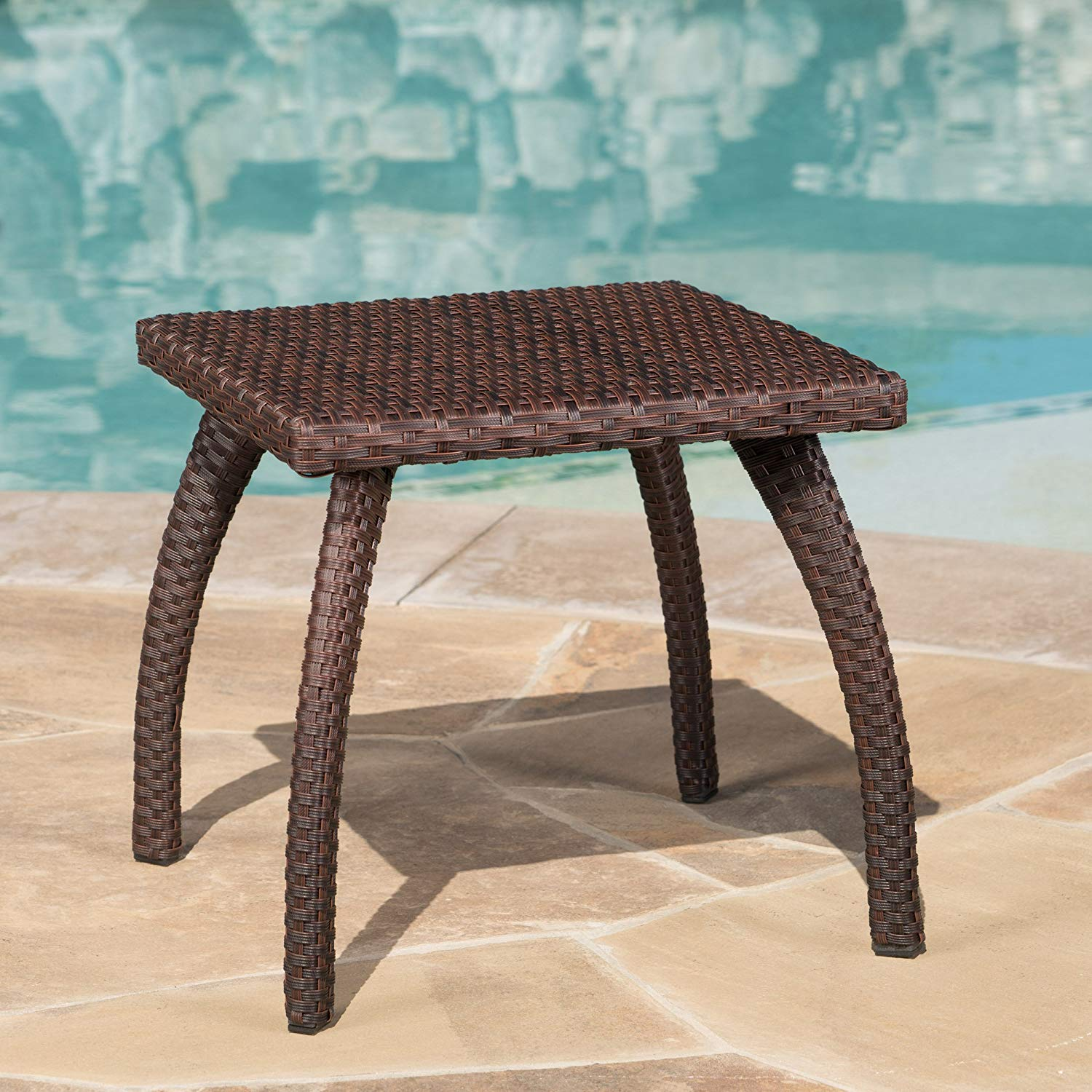 great furniture woodridge outdoor brown wicker end table accent garden magnussen bar stools stanley kids powell pallet wood amish dining ethan allen twin antique wooden bedside