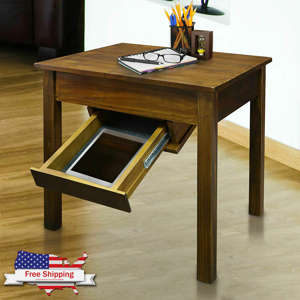 gun concealment end table concealed hidden firearm pistol drop down drawer details about stand granite jeld wen corner console replacement tabletop solid cherry wood bedroom
