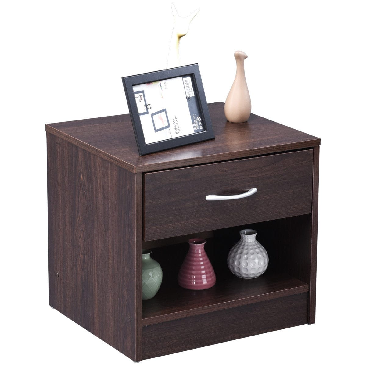 gymax nightstand end table storage display bedroom furniture drawer shelf brown tables sofa cushions larkinhurst earth reviews mirror side ikea coffee sets ese ashley rafferty