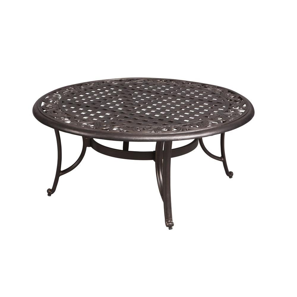hampton bay edington round patio coffee table outdoor tables furniture end ethan allen sleeper sofa reviews cognac leather entrance target living room lights pull out long white