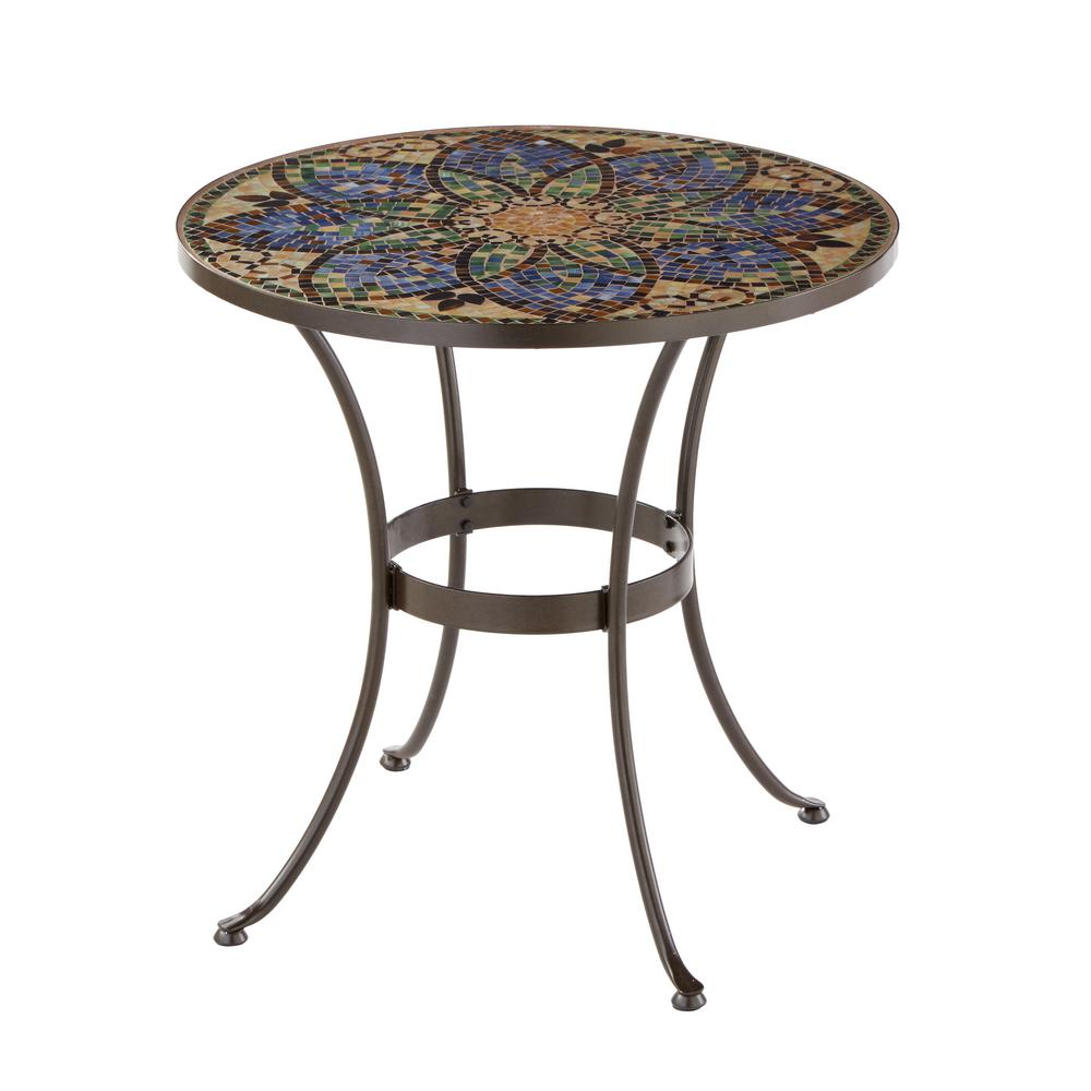 hampton bay glass mosaic art outdoor bistro table tables end vintage two tier revelation cocktail where furniture row bedroom side units tulip round storage ashley home collection