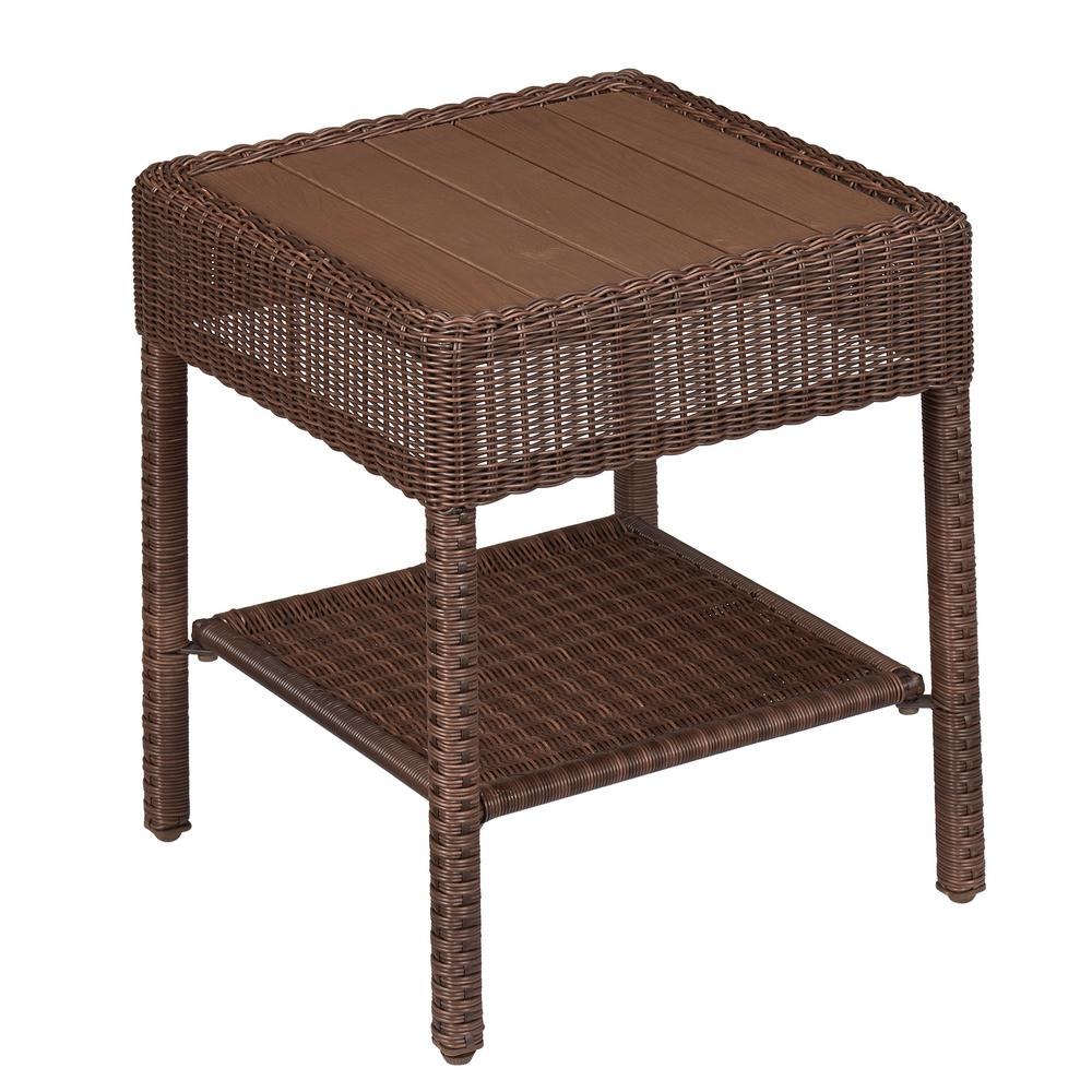 hampton bay park meadows brown wicker outdoor accent table side tables end link wood set round nesting coffee glass patio top replacement inch nightstand rustic furniture