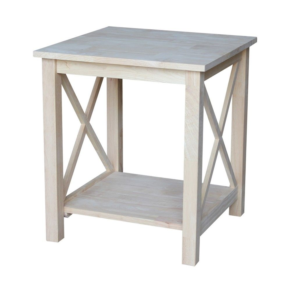hampton end table international concepts wood products unfinished furniture tables nightstand without drawers pallet crate ideas bare pine diy metal coffee homesense lamps wickham