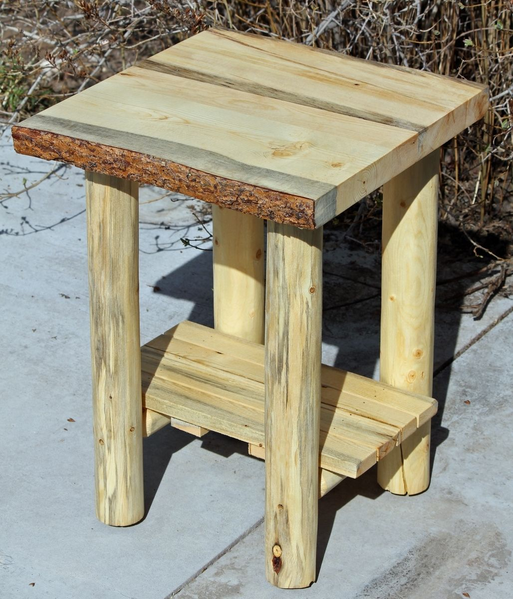 hand made rustic log end tables nightstands and coffee from logs the wood custommade slim grey bedside table riverside craftsman home collection diy console with pipe legs vintage