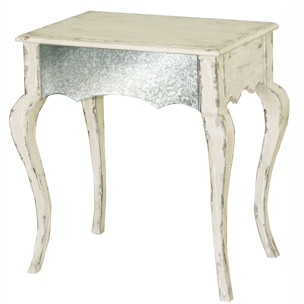 hand painted distressed mirrored ivory finish accent table end tables wood cube black gloss paint for metal dining room behind couch ethan allen bennett antique stackable glass