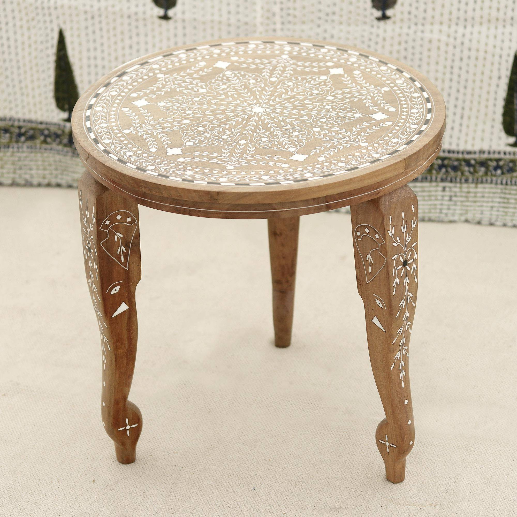 handmade jamun wood end table with leaf motifs from elephant elegant tables majesty teak ashley furniture glass top coffee light brown leather ott sofa pattern white cube bedside