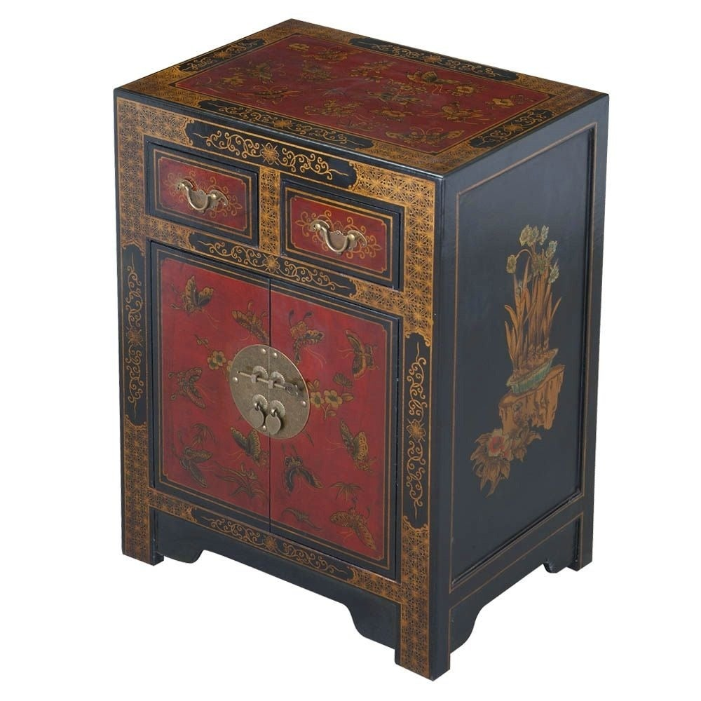 handmade oriental end table black free shipping hand painted bonded leather tables glass top nesting coffee average dimensions pillows for furniture stone occasional large round