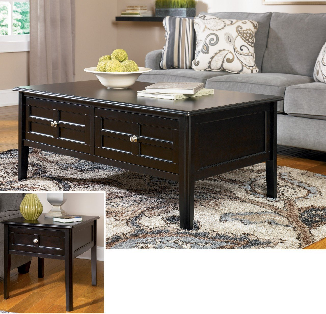 henning metro black coffee table set ashley furniture end tables occasional sets oversized night stands larkinhurst sleeper sofa thomasville good universal curated collection