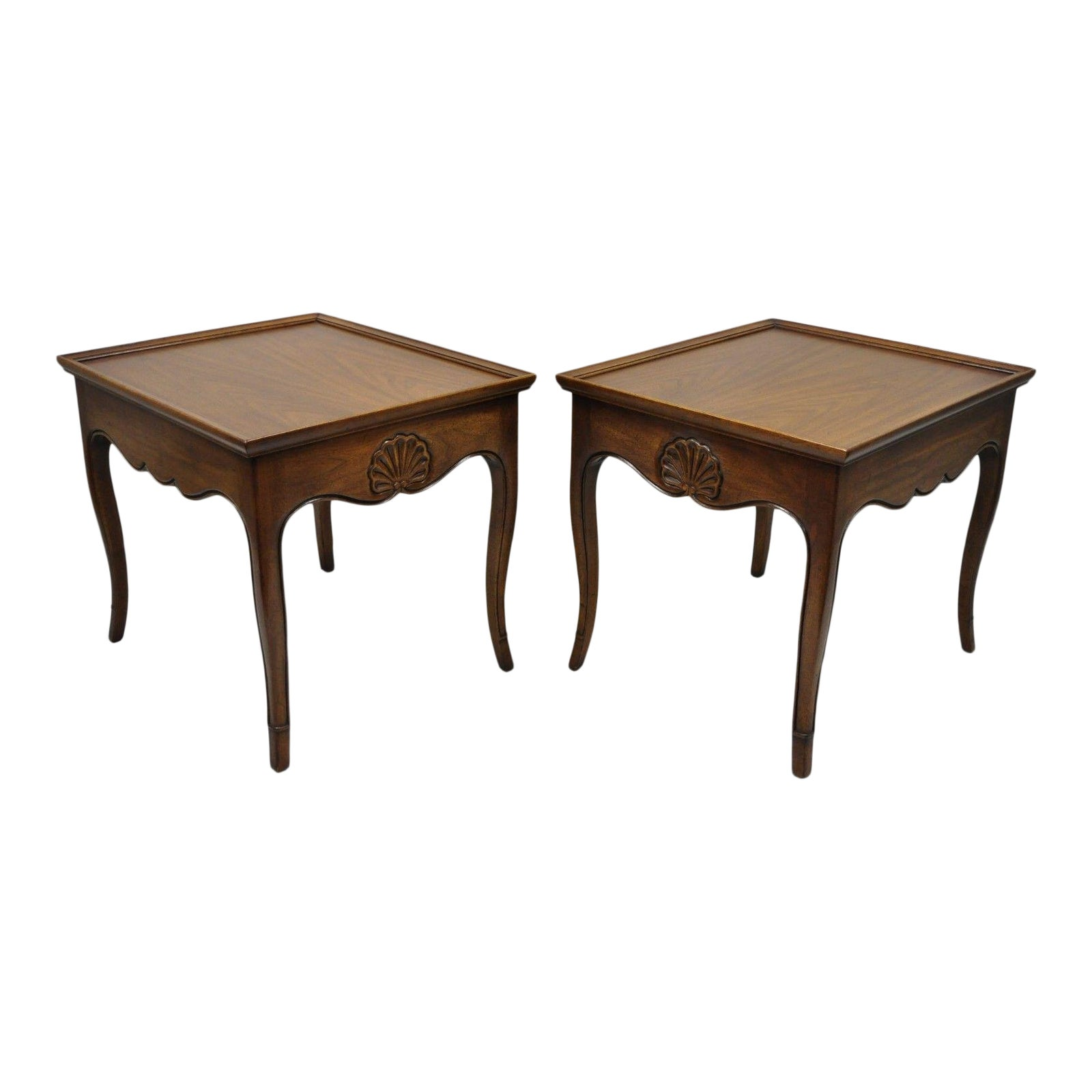 henredon french country shell carved scalloped edge walnut end tables pair style chairish ashley furniture manhattan hall table inches deep glass dining bench orange patio side