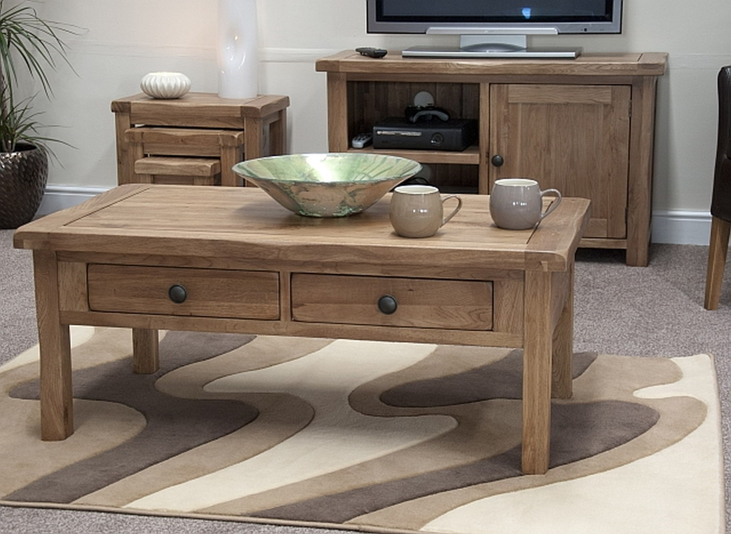 high end coffee tables create interesting look living rustic made solid wood with double drawer underneath some ceramic its top for centerpiece and completed rug under the table