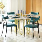 high end dining tables for stylish homes carrara marble and brass table from jonathan adler glass view gallery sectional sofa setup ideas liberty summerhill overstuffed big lots 150x150