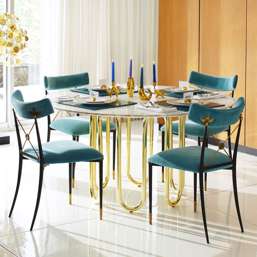 high end dining tables for stylish homes carrara marble and brass table from jonathan adler glass view gallery sectional sofa setup ideas liberty summerhill overstuffed big lots