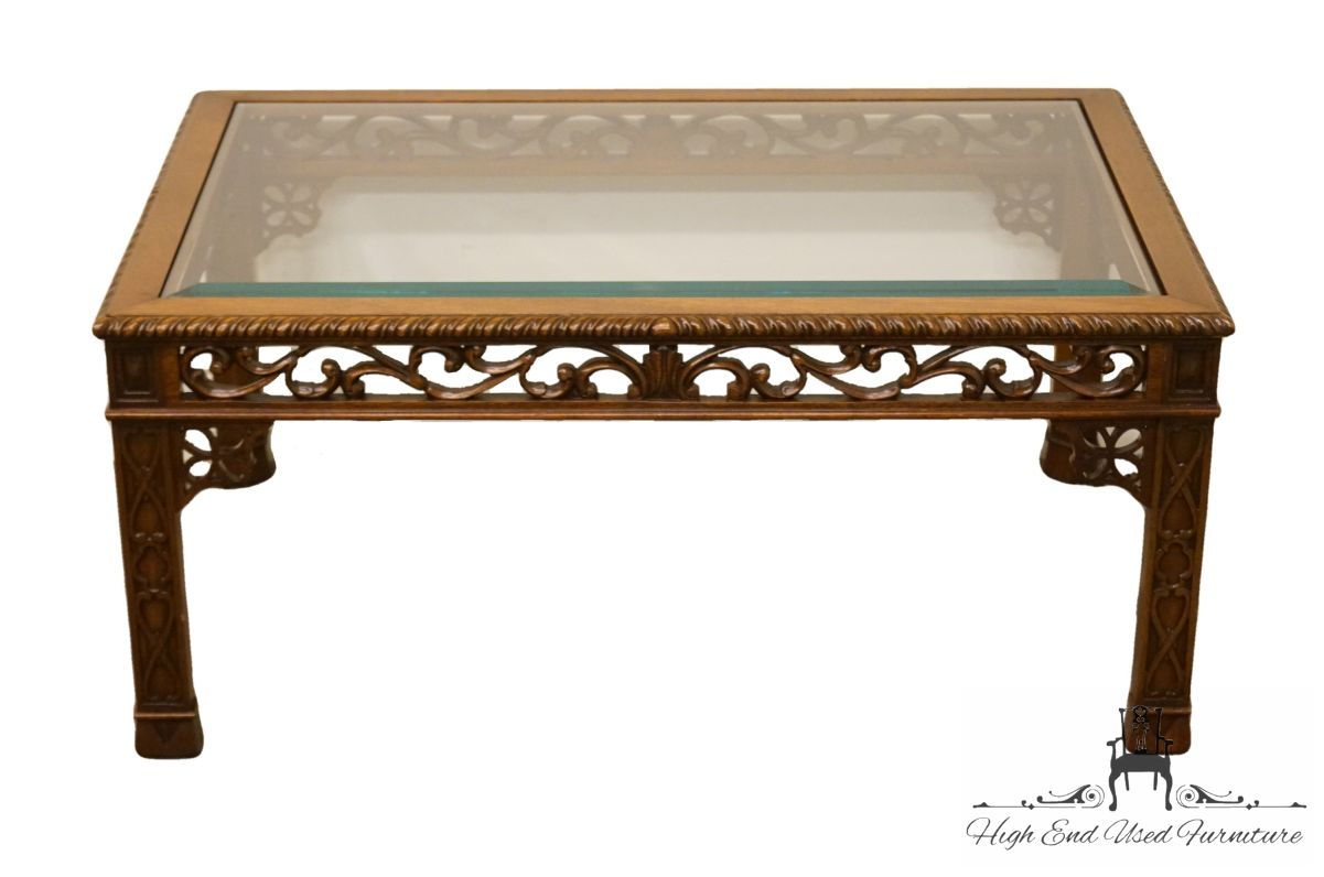 high end english revival ornate carved wood glass topped tables coffee table small living room ideas black leather sofa mirrored base sets inch nightstand ethan allen heirloom