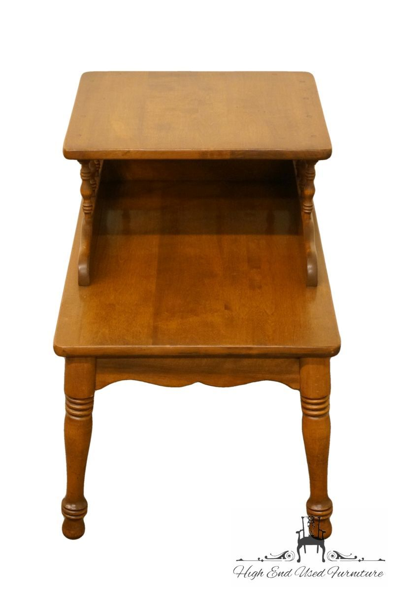 high end used furniture ethan allen heirloom nutmeg maple step tables lamp bedroom denver tall white table coffee san diego wood dog crate entertainment center diy pipe laura