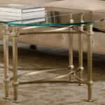 highland park glass top plated metal demilune end table gold highlandpark glasstopplatedmetal demiluneendtable tables humble abode hallway console black high gloss lamp multi 150x150