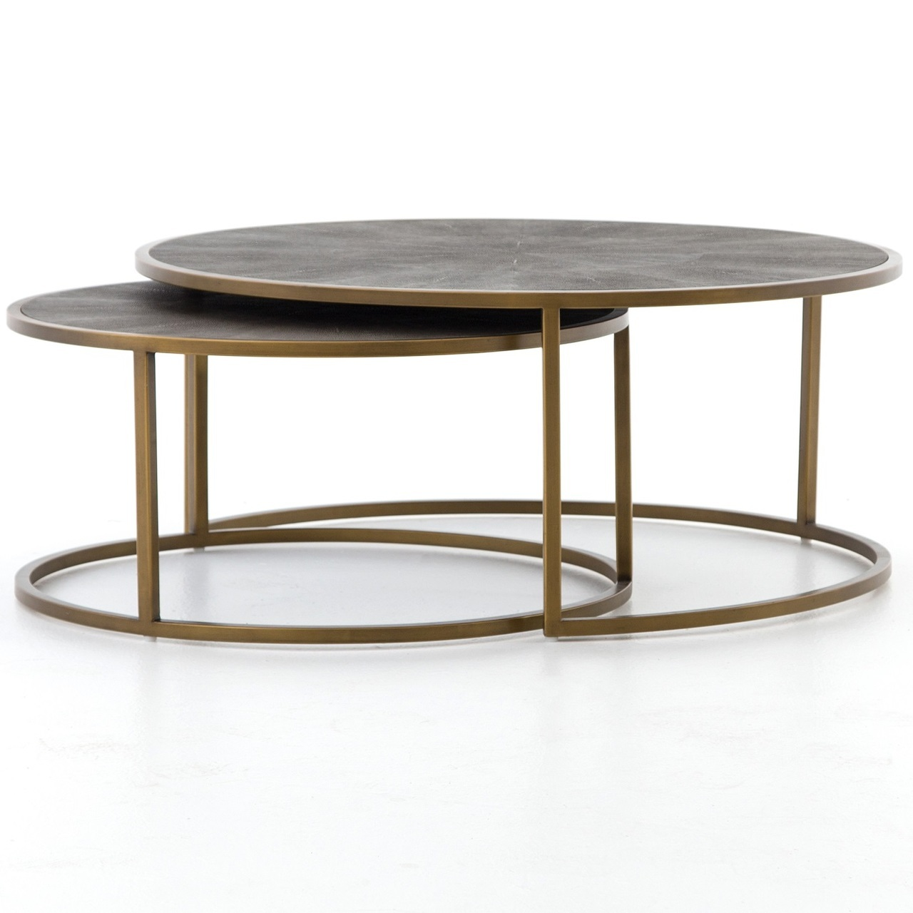 hollywood modern shagreen nesting coffee tables brass zin home vben prm end table iron round how big are riverside furniture medley ethan allen hutch value wicker chair side