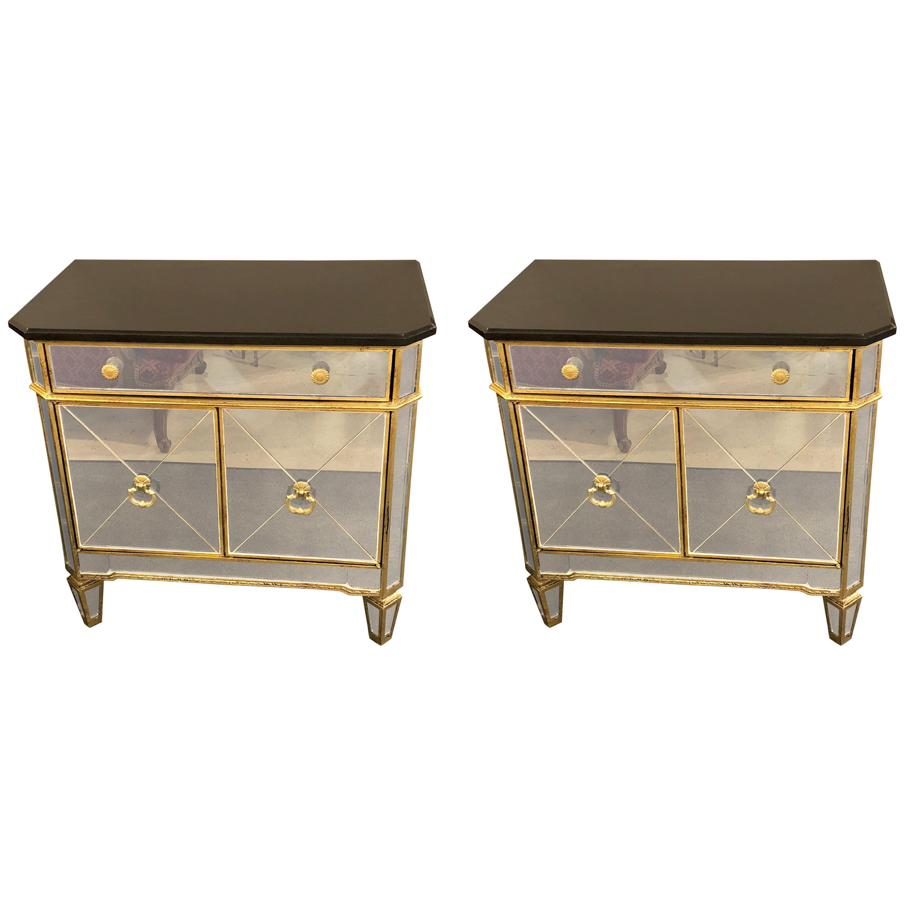 hollywood regency style pair mirrored marble top nightstands and end tables for pillows brown leather sofa furniture built with pallets patio glass replacement bassett recliners