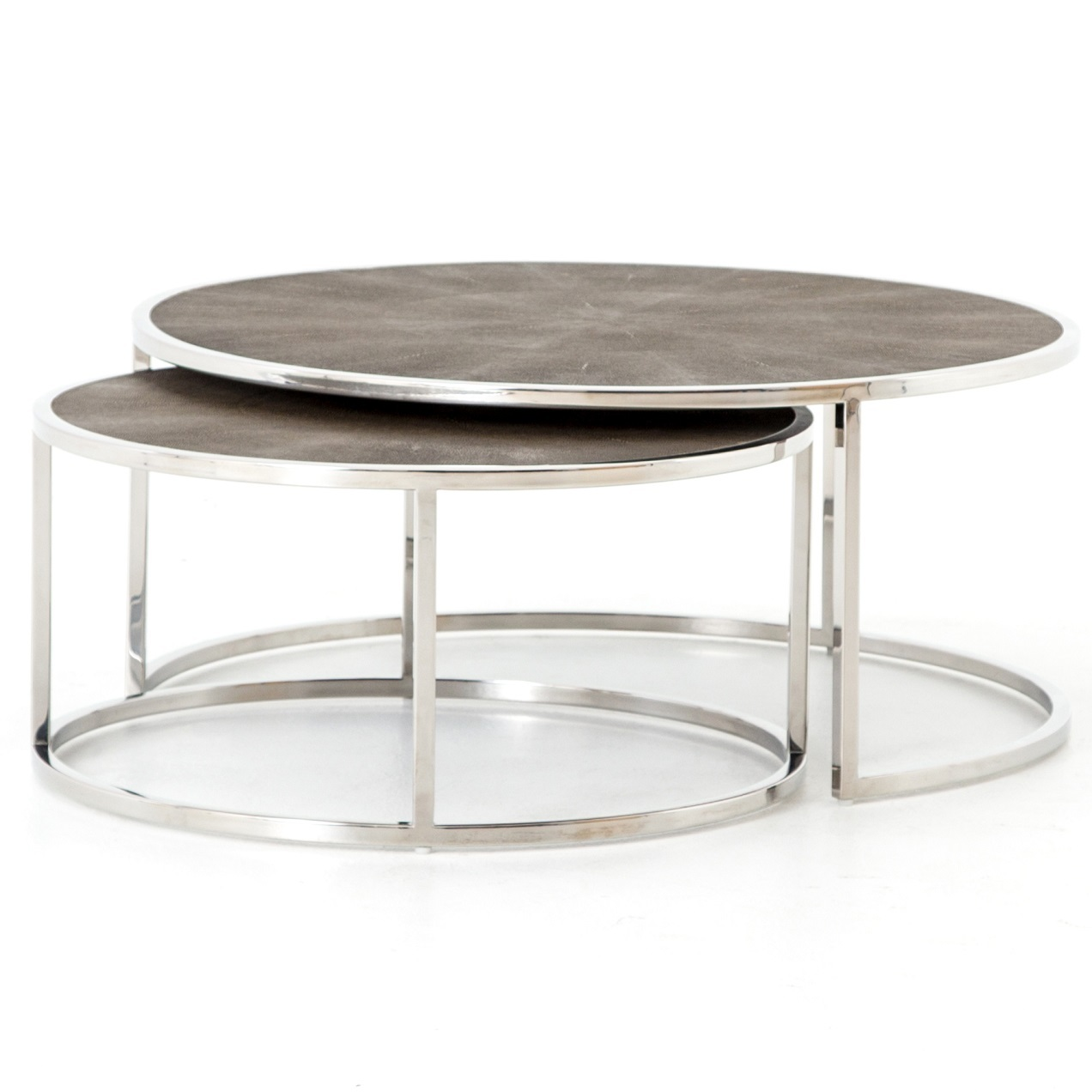 hollywood shagreen nesting coffee tables stainless steel zin home vben prm glass end homesense tures fire pit clearance martha stewart outdoor furniture ethan allen british
