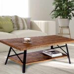 home decorating ideas used coffee tables and end can table cocktail made normal pine wood board strong steel legs provide you the durability floor lamps that light room leather 150x150