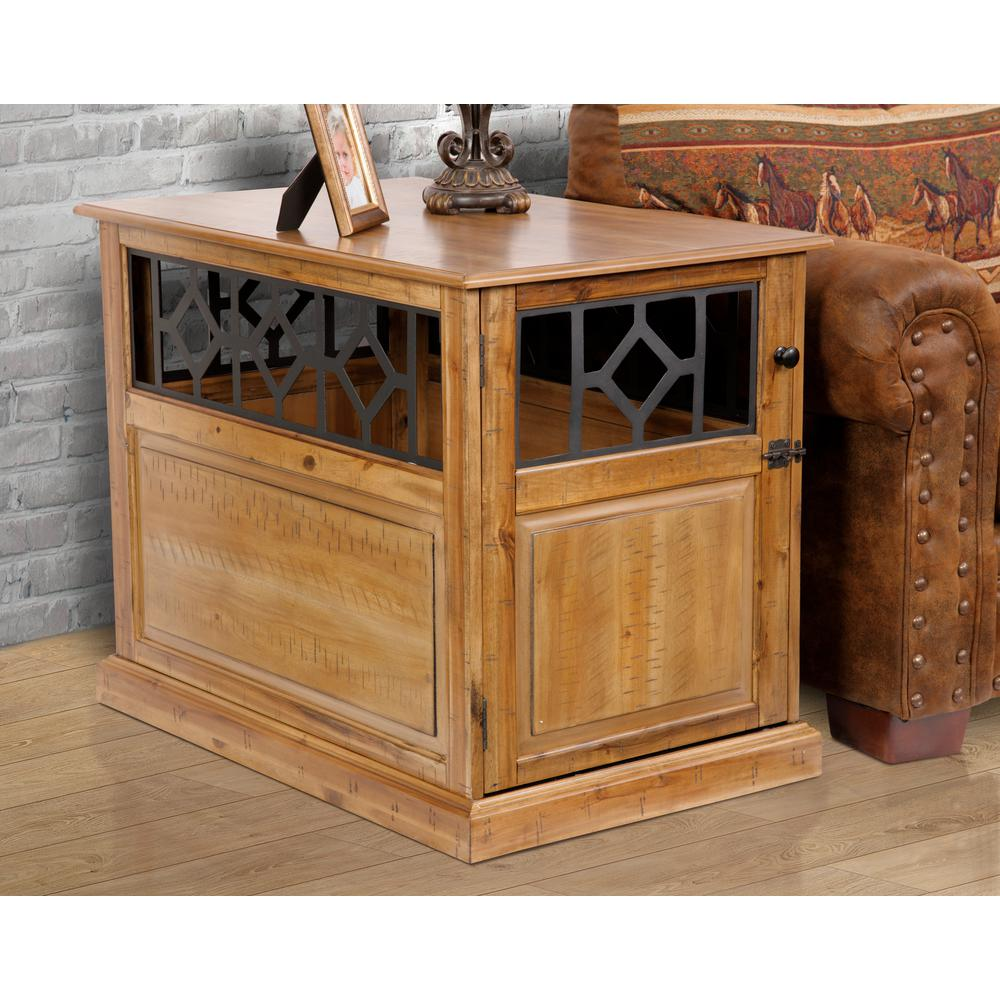 home large sized real acacia wood dog crate end table with raised distressed toffee tables kennel furniture panel door and metal accents tall mirrored dresser universal