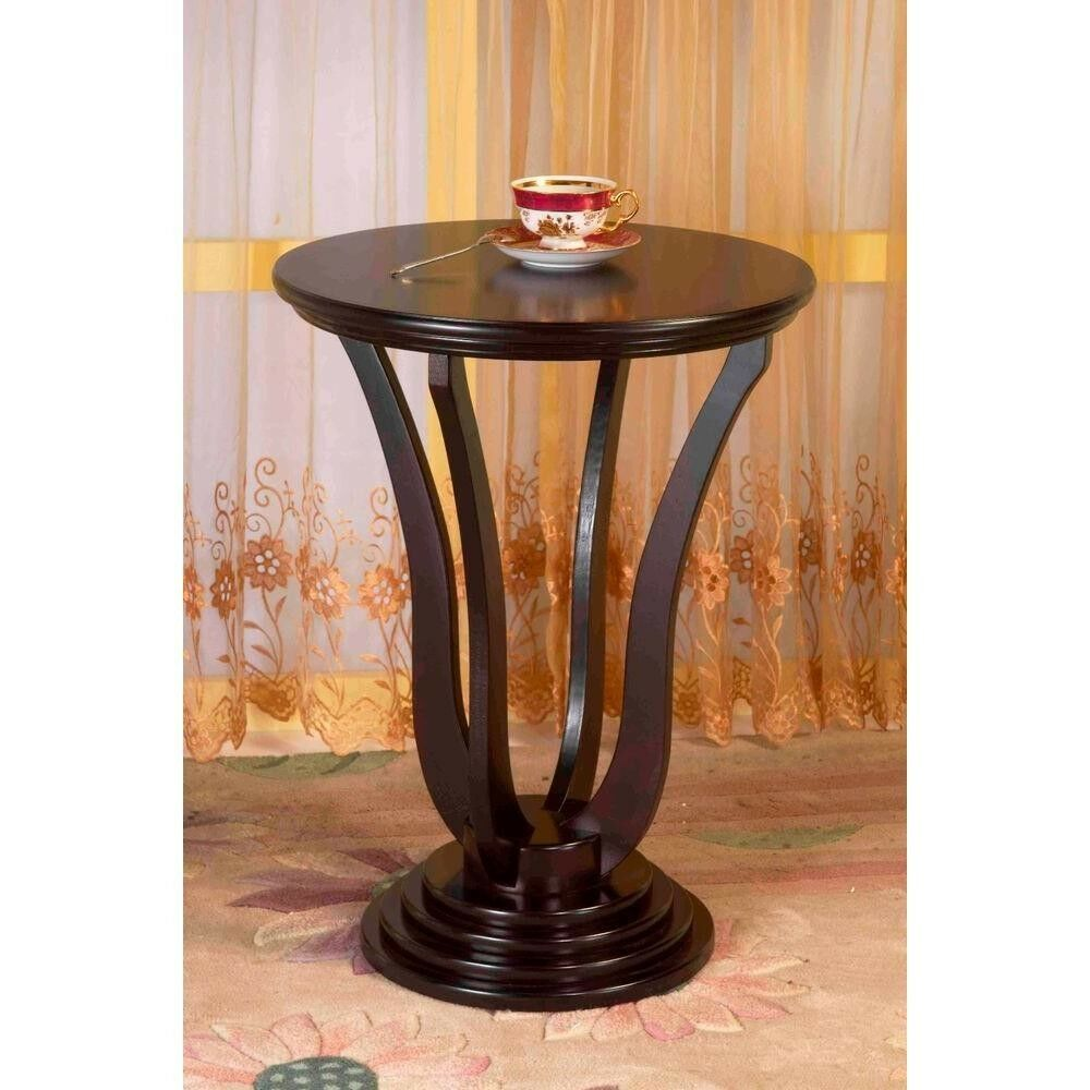 homecraft home furniture solid wood round espresso end side accent table details about modern pedestal coffee whole patio ethan allen dubai pulaski company website edwardian