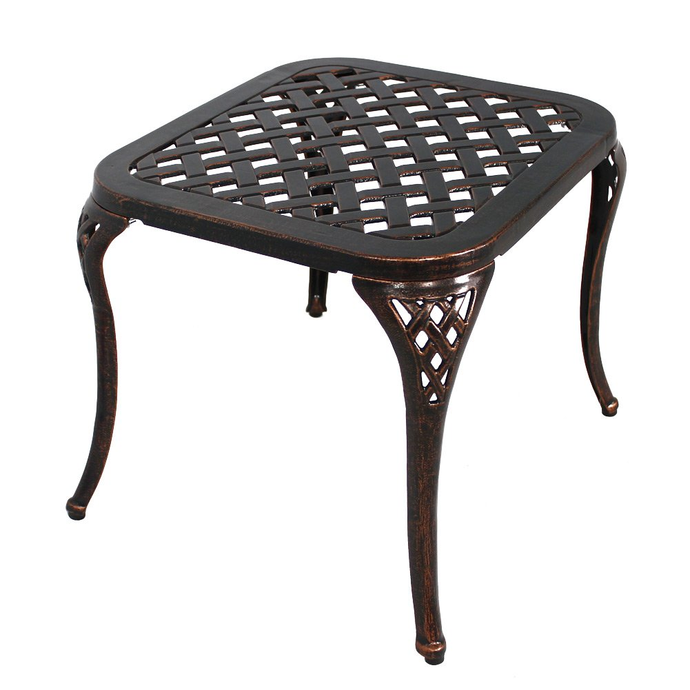 homefun patio end table outdoor side cast black aluminum metal furniture antique bronze garden broyhill dining industrial rustic hamilton cheval mirror leick laurent hall console