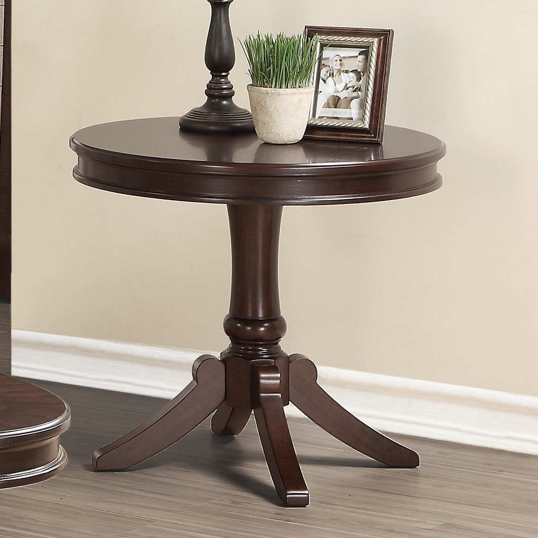homelegance marston round end table dark cherry finish local furniture plexi coffee mission style night tables kmart black speakers stickley hutch sofa dimensions unstained wood