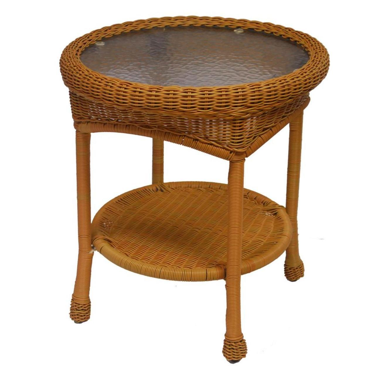 honey brown two level resin wicker end table with glass top tables outdoor living funky bedside cabinets contemporary coffee toronto universal furniture gabriella big lots for