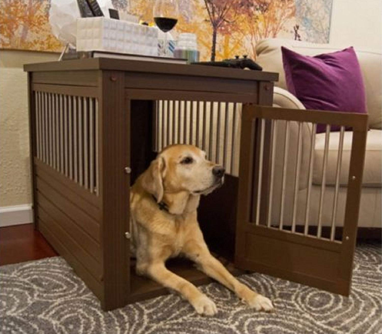 hot large dog kennel cage crate pet eco wood end table oversized puppy furniture supplies lift top coffee round black industrial diy inch glass magnolia farms barn style refinish