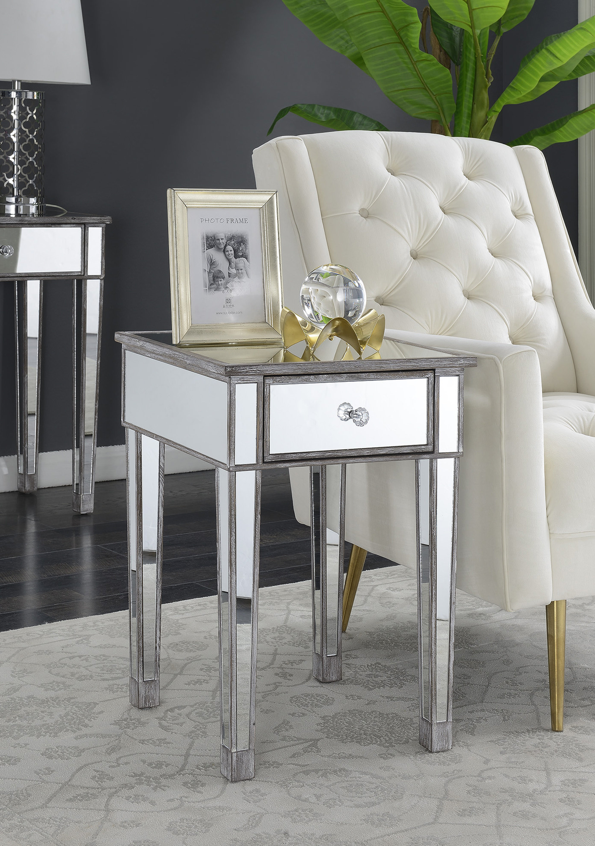 house hampton claybrooks mirrored end table with drawer reviews cuisinart meat claws pet furniture for dogs powell home furnishings vintage metal patio chairs winners homesense