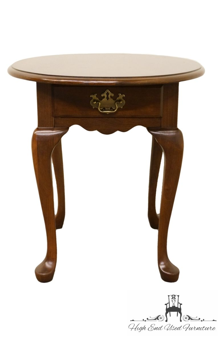 house solid cherry queen anne style end lamp table herringbone coffee chairside mirror accent nightstand ethan allen san francisco wick leather sofa inch high console macys