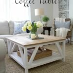 how build diy modern farmhouse coffee table classic square end with painted base and rustic stained top complete bottom shelf gray distressed furniture cool night tables living 150x150