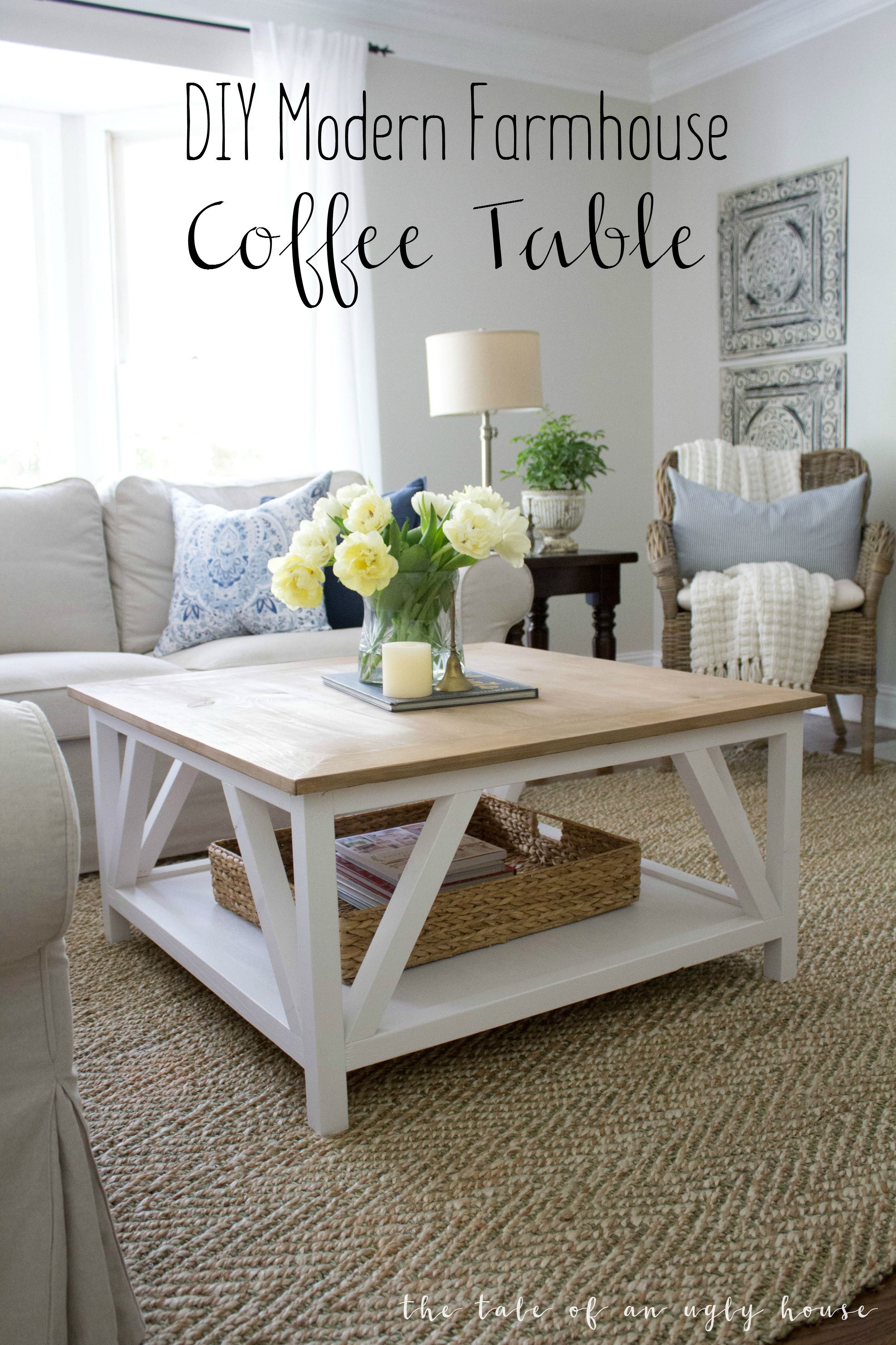 how build diy modern farmhouse coffee table classic square end with painted base and rustic stained top complete bottom shelf gray distressed furniture cool night tables living