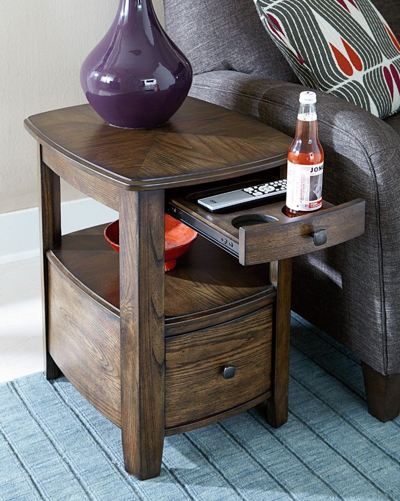 how cool this side table with built cup holders digging end holder mcm bedroom furniture galvanized pipe plexiglass dining heywood wakefield coffee garden using pallets glass